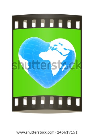 3d earth to heart symbol on a green background. The film strip - stock photo