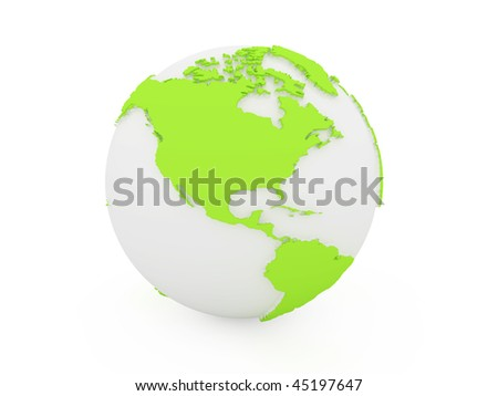 3d earth white and green