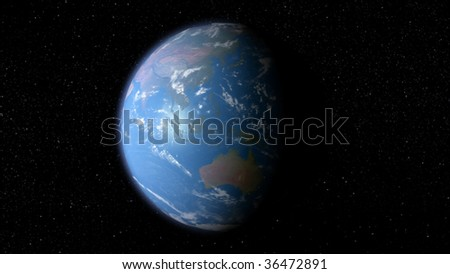 3D earth with the view of Asia and Australia - stock photo