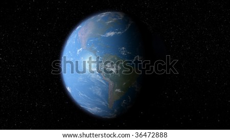 3D earth with the view of South and North America - stock photo
