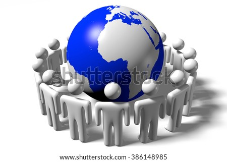 3D Earth/ world and human characters - great for topics like teamwork, corporation etc. - stock photo