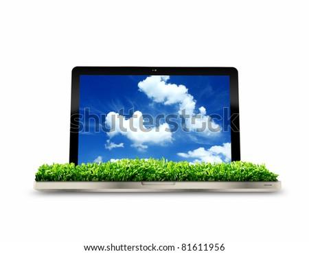 3D eco Laptop - stock photo