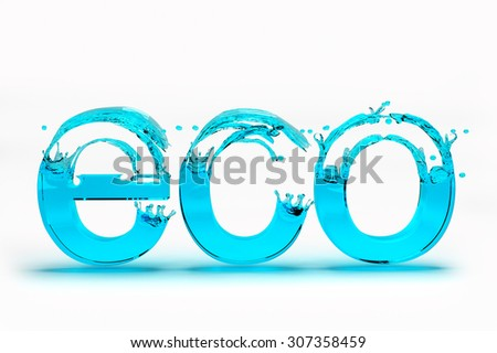 3D Eco text for Save Ecology concept on  white background. - stock photo