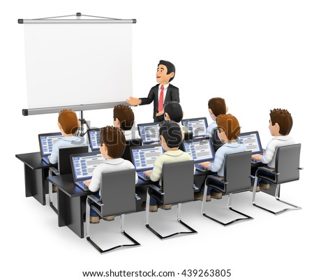 3d education people illustration. Teacher lecturing to students with laptops. Isolated white background. - stock photo