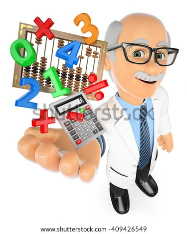 3d education people. Math teacher with calculator and abacus. Isolated white background. - stock photo