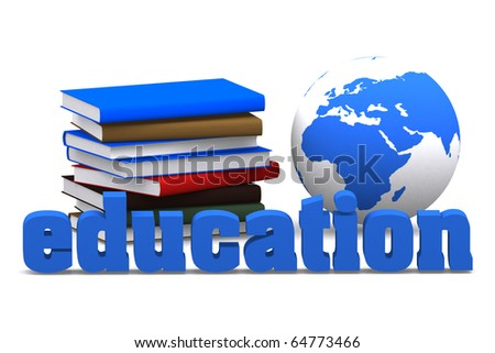 3d education word with book and mini global on white isolated background - stock photo