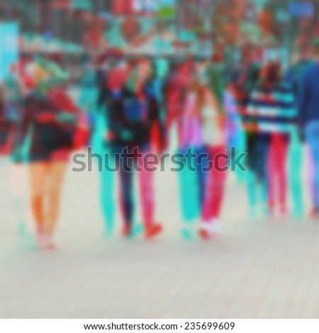 3d effect on the image of blurred city street - stock photo