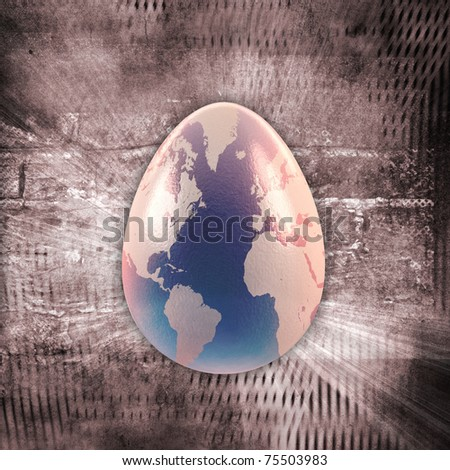 3d egg with earth texture over grunge background - stock photo