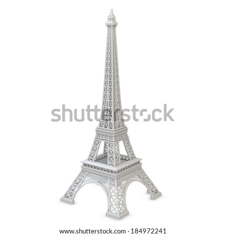 3d Eiffel Tower metallic on a white background