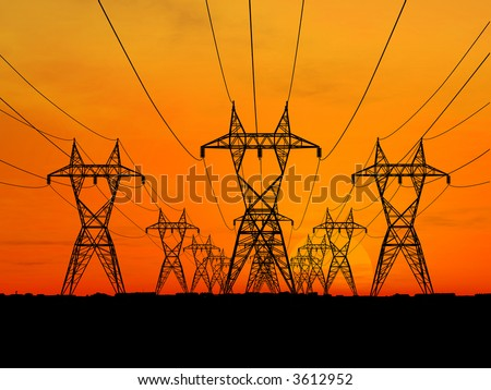 3D Electric powerlines over sunrise (see more in my portfolio) - stock photo