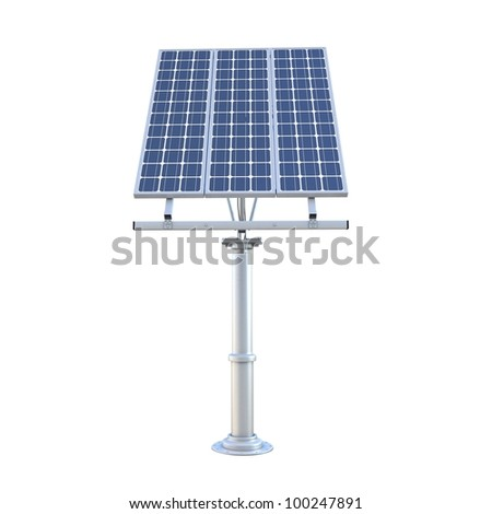 3d electric solar panel on white background - stock photo