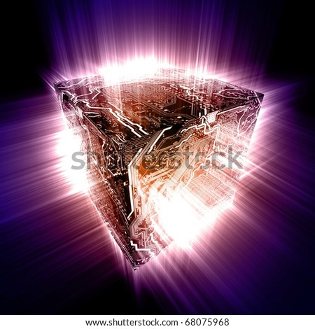 3D electronic circuit cube with energy beam of rays - stock photo