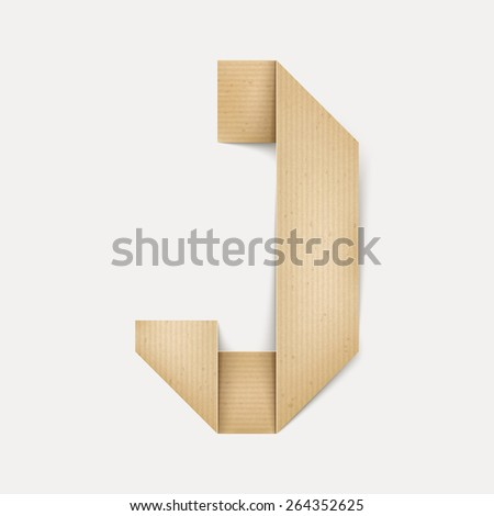 3d elegant folded paper letter J isolated on beige background