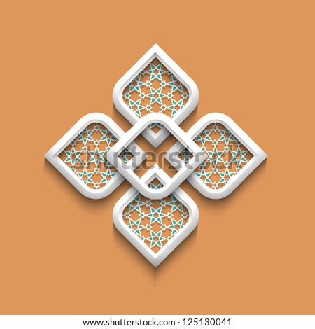 3d elegant pattern in arabic style.Raster version - stock photo