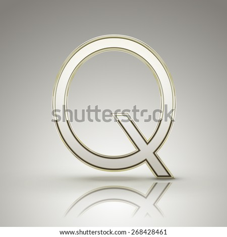 3d elegant pearl white alphabet Q isolated on grey background