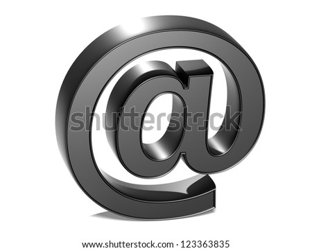 3D Email Silver Sign over white background - stock photo