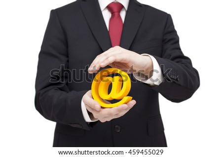 3d email symbol protected by hands. Clipping path included.  - stock photo