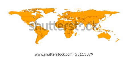 3d embossed countries borders worldmap - stock photo