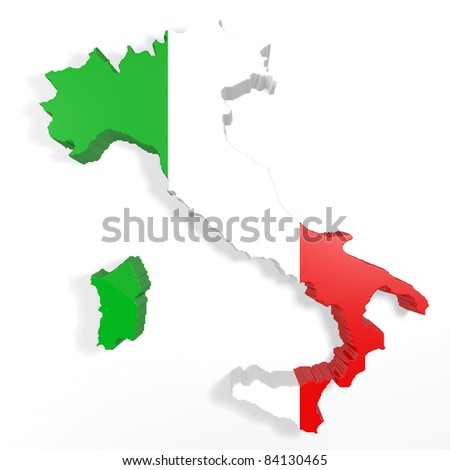 3d embossed Italian   with the colors of the flag - stock photo