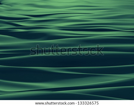 3d emerald green waves, textile background with folds - stock photo