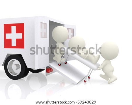 3D emergency ambulance assisting a guy - isolated over a white background - stock photo