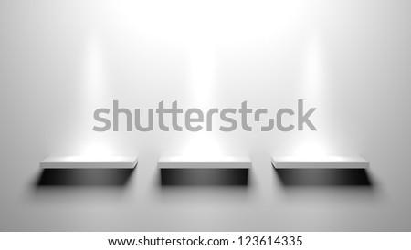 3d Empty book shelves for exhibit - stock photo