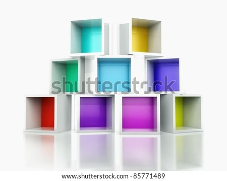 3d Empty colorful bookshelf stack - stock photo
