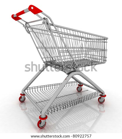 3d empty facilitated shopping cart isolated on white background - stock photo