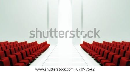 3d Empty fashion runway - stock photo