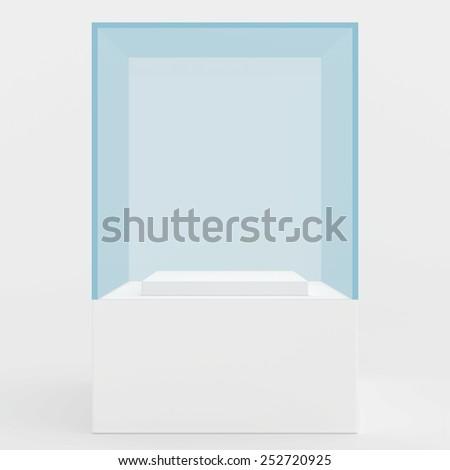 3d Empty glass showcase for exhibit. gray background - stock photo