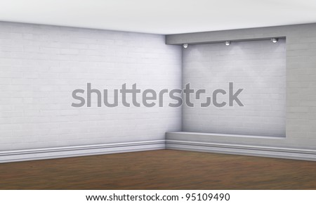 3d empty niche with spotlights for exhibit in the gallery - stock photo