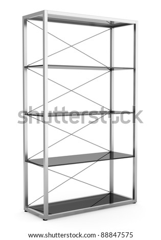 3d empty office shelves isolated on white background - stock photo