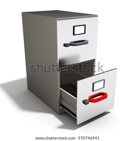 3d empty open file cabinet on a white background - stock photo