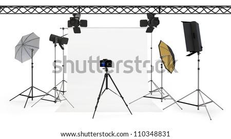 3d empty photo studio interior with equipment on white background - stock photo