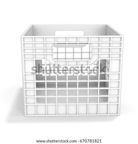 3d empty plastic milk crate on white background 3d