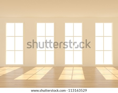 3d Empty Room with windows - stock photo