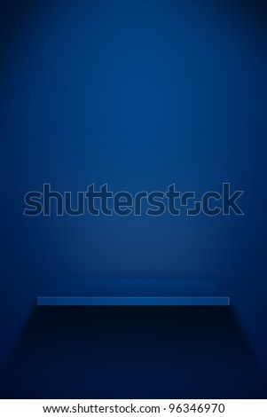 3d Empty shelf for exhibit. grunge industrial interior Uneven diffuse lighting version. Design component - stock photo
