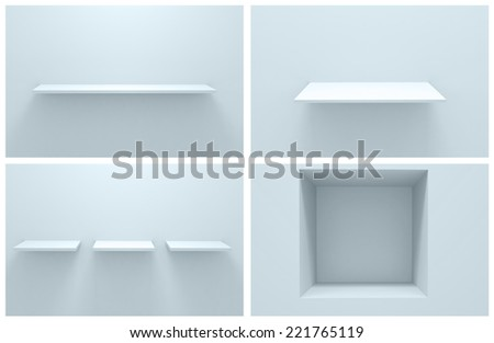 3d Empty shelf for exhibit in the wall.Collection - stock photo