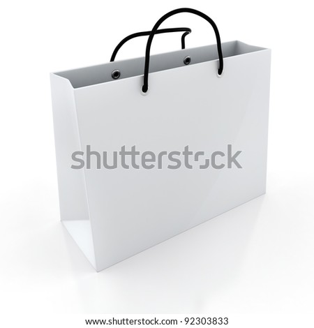 3d empty shopping bag, on white background - stock photo