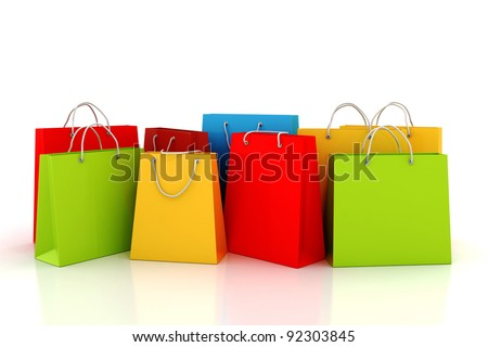 3d Empty Shopping Bag On White Stock Illustration 92303833 ...