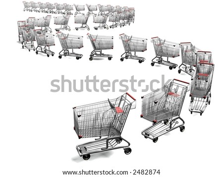 3d empty shopping cart line - stock photo