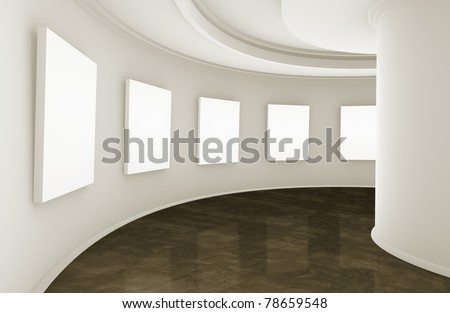 3d empty showroom with blank boxes - stock photo