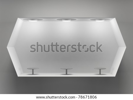 3d empty store showcase for exhibit - stock photo