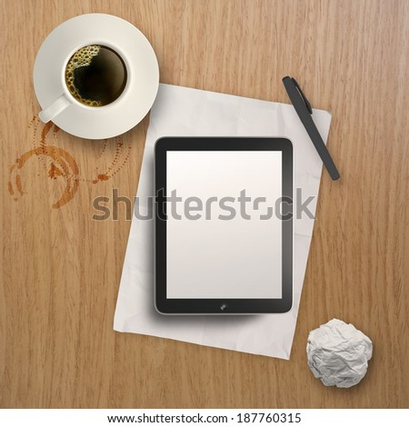 3d empty tablet and a cup of coffee on the wooden desk