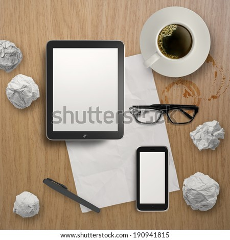 3d empty tablet with mobile phone and a cup of coffee on the wooden desk  - stock photo