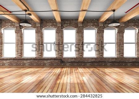 3d empty vintage interior setup - stock photo