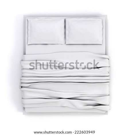3d empty white bed on white background - stock photo