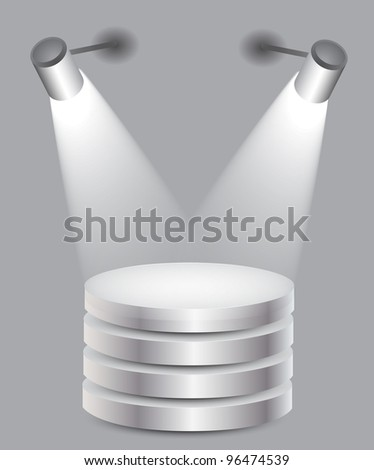 3d Empty white stand with light, illustration - stock photo