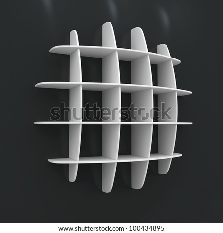 3d Empty wood shelves for exhibit on white background - stock photo