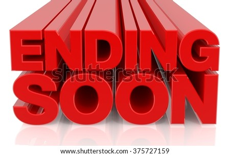 3D ENDING SOON word on white background 3d rendering